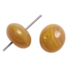 Glass Pressed Beads 8mm Round Khaki